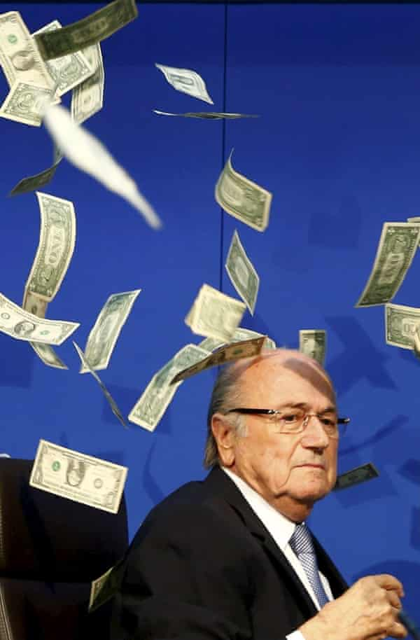 Blatter and the blizzard of dollars at an executive committee meeting at Fifa HQ in Zurich, 20 July 20 2015.