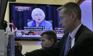 Traders at work in New York as Janet Yellen speaks to the media on Wednesday.