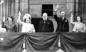 Princess Elizabeth joins, from left, Queen Elizabeth, Winston Churchill, King George VI, and Princess Margaret, on the balcony of Buckingham Palace, 8 May 1945.