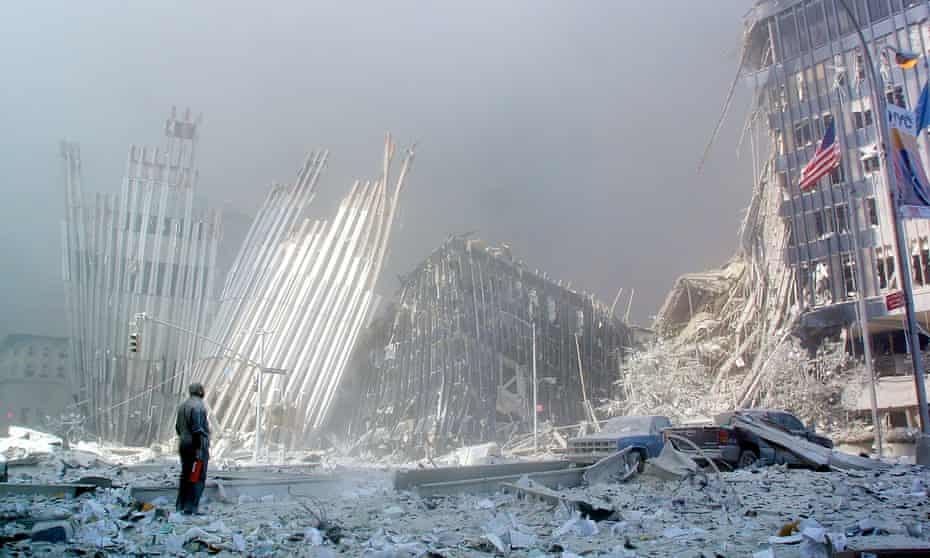 11 September 2001: the scene in lower Manhattan following the collapse of the first of the World Trade Center towers.