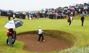 McIlroy ends up in the bunker at the first hole of the final round, which he completes in a level-par 72.
