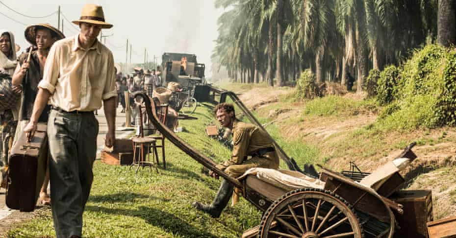 Road to ruin … Treadaway as Matthew Webb surveying the aftermath of the Japanese attack.