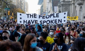 People gather as they celebrate Joe Biden's election victory in Philadelphia, Pennsylvania, last week.