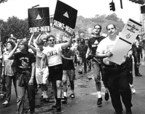 Members of Act Up, the Aids Coalition to Unleash Power, at the Gay and Lesbian Pride March in New York City, 26 June 1988.
