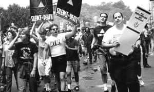 members of Act Up on the 1988 Gay and Lesbian Pride march in New York.