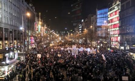 Protesters at Wenceslas Square, Prague