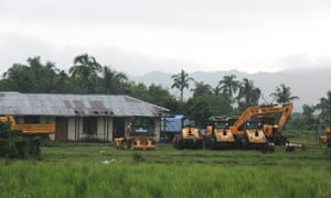 Construction equipment on the outskirts of Inn Din village in Rakhine state, Myanmar, where signs of Rohingya villages have been burned and ploughed into the ground.