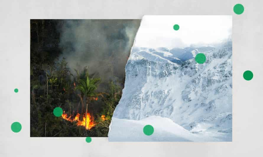 Composite of the rainforest on fire and icy mountains