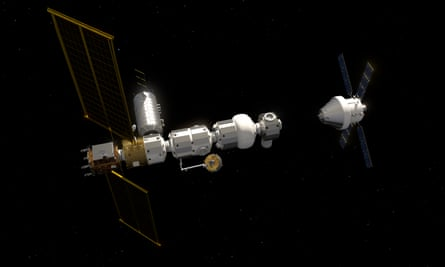 An artist's impression of the Nasa's Gateway project's Orion spacecraft with Heracles ascent element docked.
