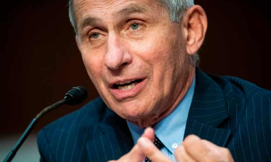 FILES-US-HEALTH-VIRUS-TRUMP-FAUCI<br>(FILES) In this file photo taken on June 30, 2020, Dr. Anthony Fauci, director of the National Institute of Allergy and Infectious Diseases, testifies at a Senate Health, Education, Labor and Pensions Committee hearing in Washington, DC. - Anthony Fauci, the United States' top infectious disease specialist, likes to focus on science -- but his honest takes on America's failures to get a grip on COVID-19 have brought him into ever greater conflict with President Donald Trump. As director of the National Institute of Allergy and Infectious Diseases, the physician-scientist has led the country's response to every epidemic since the 1980s, earning particular acclaim for his research on HIV treatments. (Photo by Al Drago / POOL / AFP) (Photo by AL DRAGO/POOL/AFP via Getty Images)