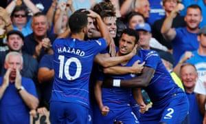 Pedro celebrates scoring Chelsea's first goal against Bournemouth.