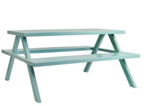 Jennifer Newman light greeny-blue A-Frame bench
