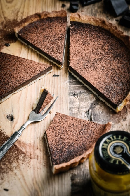 Pardon Your French's chocolate and honey mustard tart