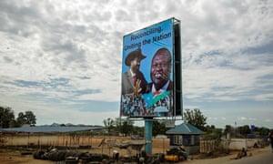 A billboard featuring South Sudan's president Salva Kiir and the opposition leader Riek Machar in Juba