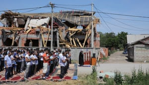 Belgrade, Serbia: People worship in the shadow of a demolished mosque