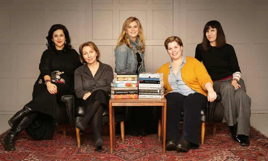 Women's prize for fiction longlist, with judges Anita Anand, journalist; Sarah Sands, (Chair), editor of BBC Radio 4's Today programme; Imogen Stubbs, actor; Katie Brand, comedian and actor; and Catherine Mayer, Journalist, author and co-founder of the Women's Equality Party.