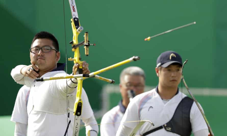 South Korea's Kim Woo-jin releases the arrow.