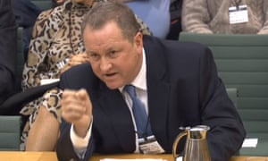 Sports Direct's Mike Ashley gives evidence before the housing, communities and local government committee on high streets and town centres in 2030 at the House of Commons in London.