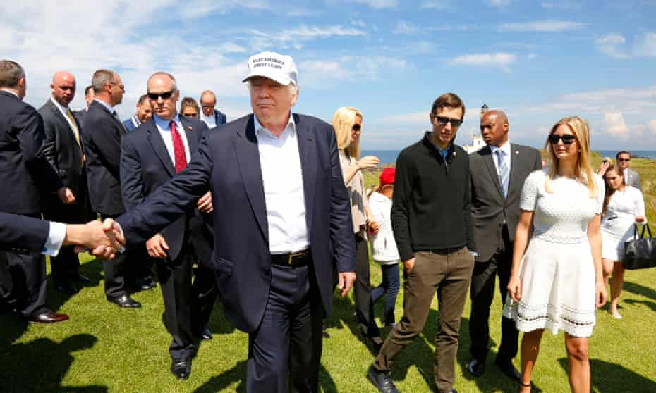 Donald Trump at the grand opening of his Turnberry resort in Scotland. The president-elect could use a UK trade deal to his private benefit, former White House ethics experts warn.