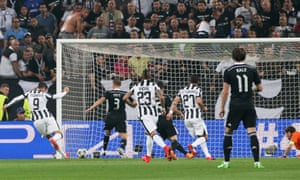 Álvaro Morata scoring for Juventus against Real Madrid in the Champions League semi-final in 2015.