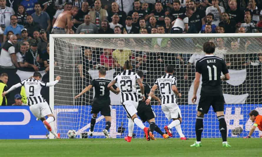 Álvaro Morata scoring for Juventus against Real Madrid in the Champions League semi-final in 2015.