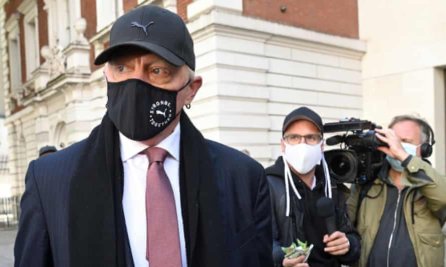 Boris Becker leaves Westminster magistrates' court in London, England.