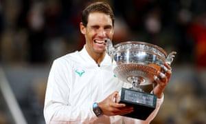 Rafael Nadal celebrates with his trademark pose.