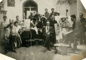 When Georgia declared independence from the collapsing Tsarist empire in 1918, modernist art flourished. Here we see Gigo Gabashvili (centre) with his students at the Tbilisi Academy of Fine Arts, established in 1922. The online festival Georgia's Fantastic Tavern: Where Europe Meets Asia runs until 28 February