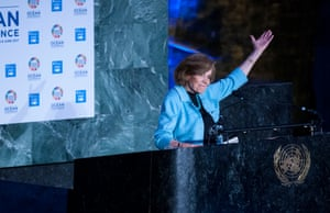 Marine biologist Sylvia Earle speaks at a special event in the United Nations General Assembly Hall in New York to commemorate World Oceans Day on 8 June
