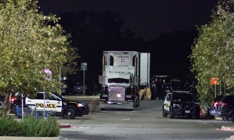 The truck was found in a Walmart parking lot in San Antonio. As many as a hundred people from Mexico and Central America had been crammed inside.