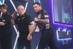 Gerwyn Price hits a double and celebrates.