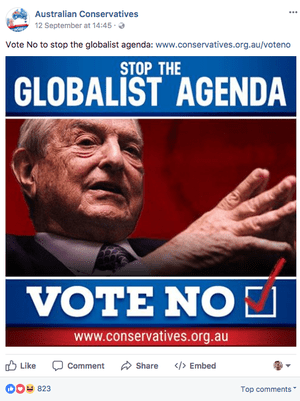 Australian Conservatives Facebook post from 12 September 2017 with an anti-George Soros, anti-same sex marriage message.