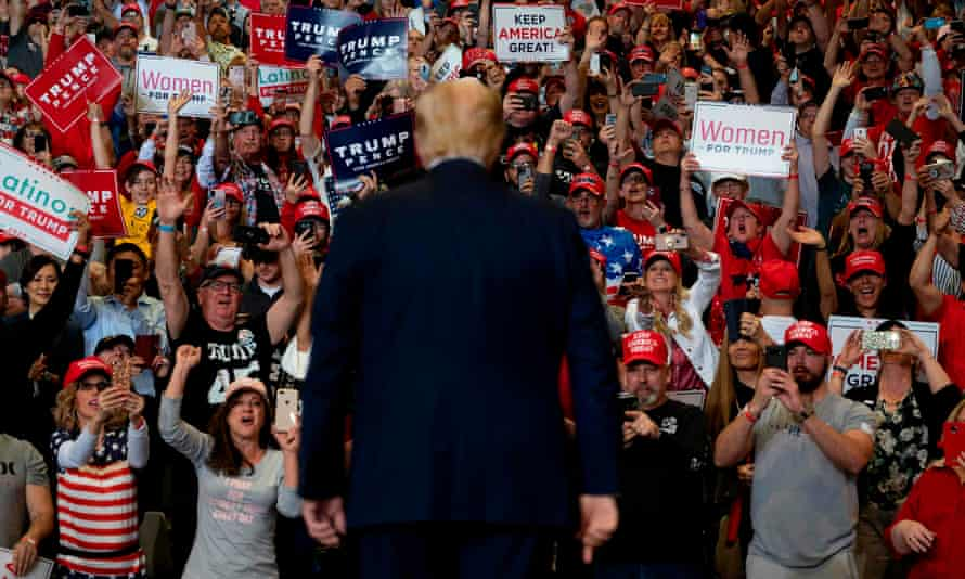 Donald Trump at a rally in Las Vegas in February. The president has not held a rally since early March.
