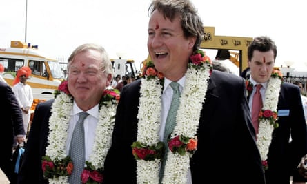 David Cameron in India with Anthony Bamford and George Osborne in 2006.