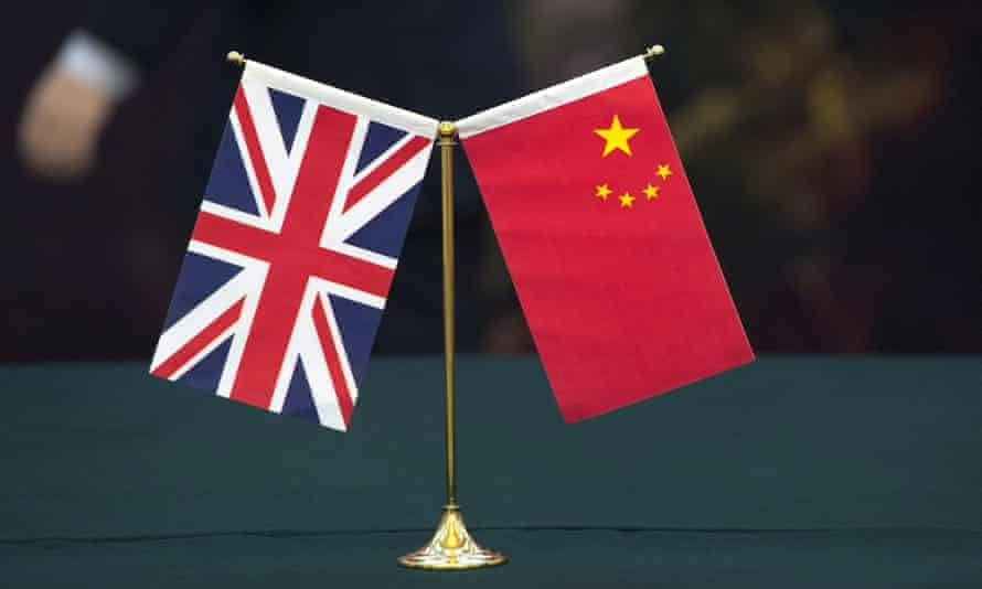 Union flag and the flag of the People's Republic of China.