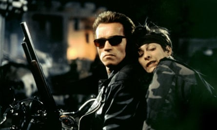 Edward Furlong and Schwarzenegger in Terminator 2: Judgment Day, 1991.
