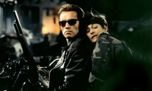 Arnold Schwarznegger and Edward Furlong in Terminator 2: Judgment Day.