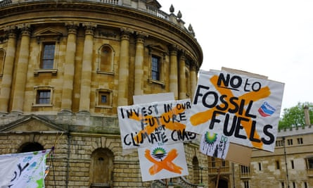 Fossil Free demonstration in Oxford, May 2014. Oxford and Cambridge universities are among the most prestigious and influential in the world and have endowments of £5bn and £4.2bn respectively.