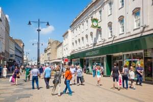 Shoppers in the High Street, Cheltenham.