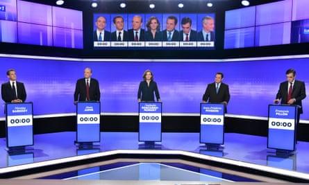 Sarkosy, Juppé, Nathalie Kosciusko-Morizet, Bruno Le Maire and François Fillon line up for a TV debate.