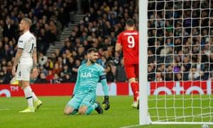 Tottenham goalkeeper Hugo Lloris looks dejected after conceding a fourth goal.