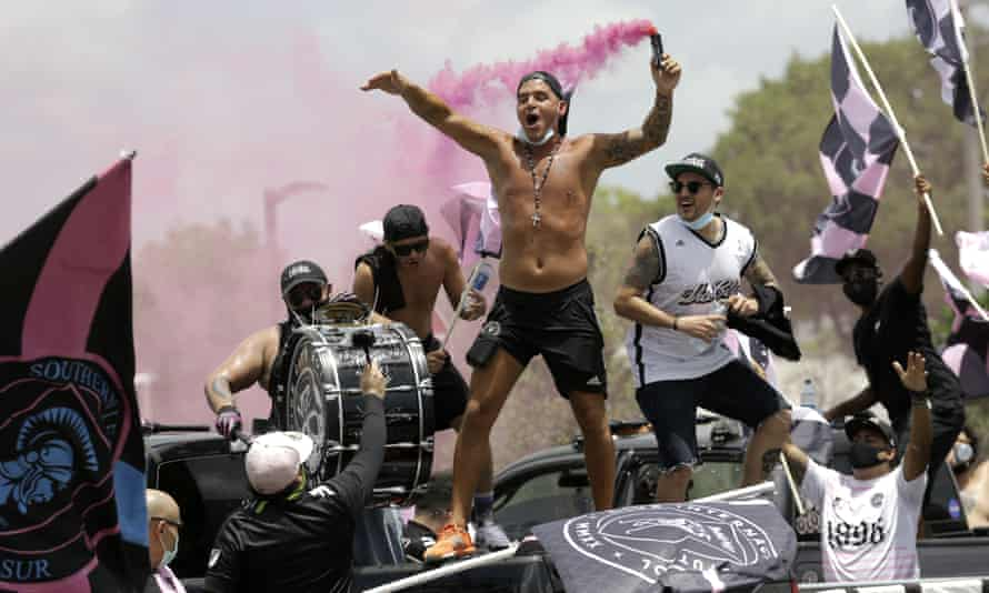 Fans of Inter Miami see their team off as they depart for Orlando and the MLS Is Back tournament.