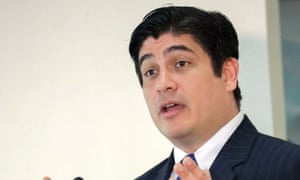 Carlos Alvarado, President of Costa Rica, at a news conference in San Jose, Costa Rica, on March 16, 2020.