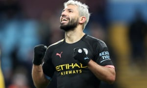 Manchester City's Sergio Aguero celebrates scoring his side's sixth goal against Villa
