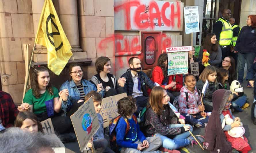 The Extinction Rebellion protest outside the Department for Education in February.