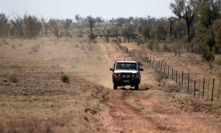 Doug and Rachelle Cameron and their children, Stirling, 11, Ella, 8, and Grace, 6, drive back from a cattle feeding point on their property, Nive Downs, north of Augathella, Queensland