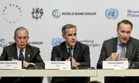 From left: Michael Bloomberg, Mark Carney and Axa chief executive Thomas Buberl at the One Planet Summit.