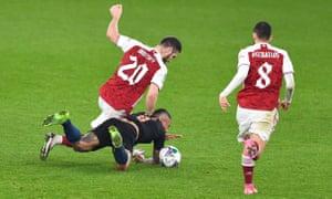 Shkodran Mustafi of Arsenal fouls Gabriel Jesus of Manchester City.