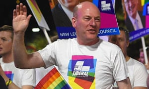 The MP for North Sydney, Trent Zimmerman, takes part in the Sydney Mardi Gras.