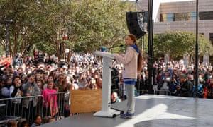 Swedish teen environmental activist Greta Thunberg speaks at a climate change rally in Charlotte, North Carolina, on 8 November.
